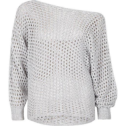 Grey mesh knit off shoulder batwing jumper