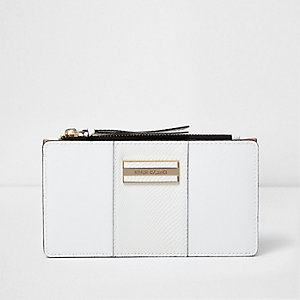 White panel slim foldout purse