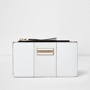 Witte smalle portemonnee met paneel