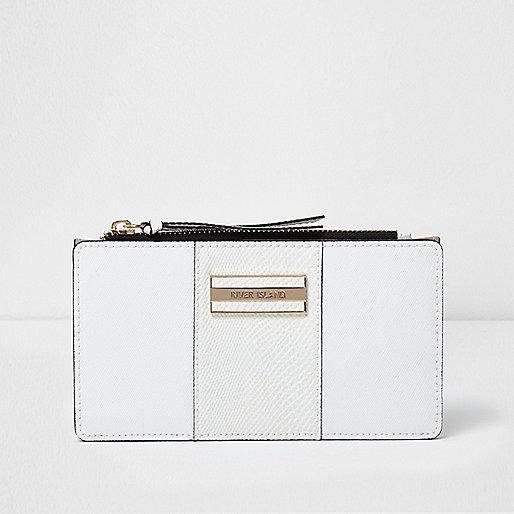White panel slim foldout purse