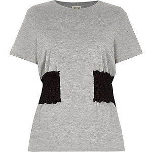 Grey marl shirred waist T-shirt