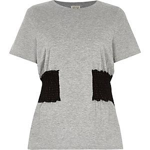Grey marl shirred waist T-shirt