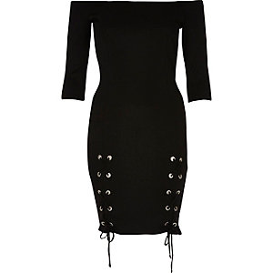 Black lace-up split bardot bodycon dress