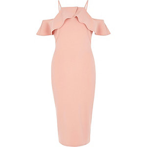 Coral cold shoulder frill bodycon midi dress
