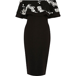Black lace deep frill bardot bodycon dress