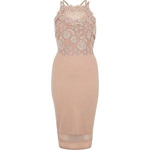 Pink sleeveless lace bodycon dress