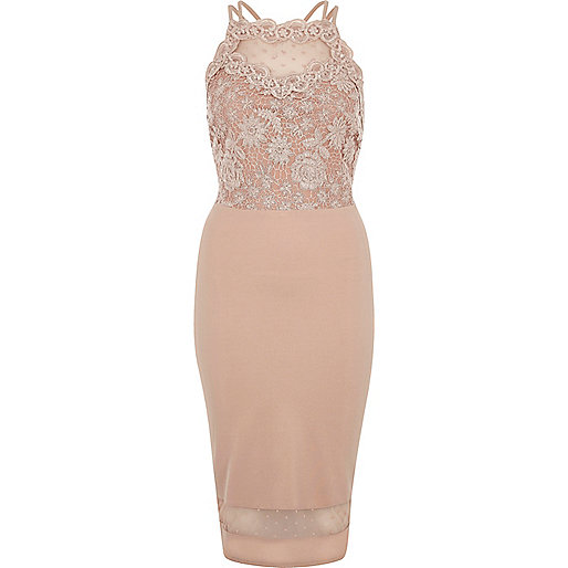 Pink sleeveless lace bodycon dress
