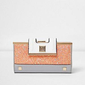 Roze glitterportemonnee met druksluiting