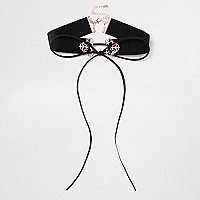 Plus black filigree corset choker