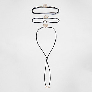 Plus black circle bolo necklace set