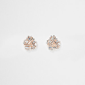 Rose gold tone rhinestone twist stud earrings