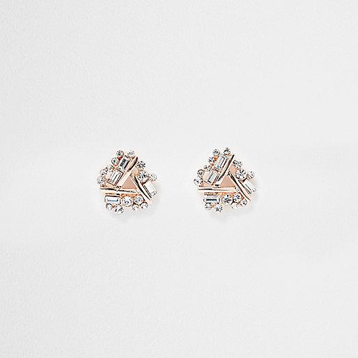 Rose gold tone rhinestone twist stud earrings