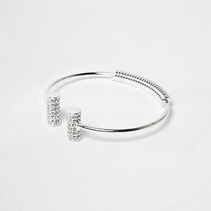 Silver tone diamanté cuff