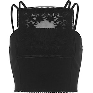 Black lace panel bralet
