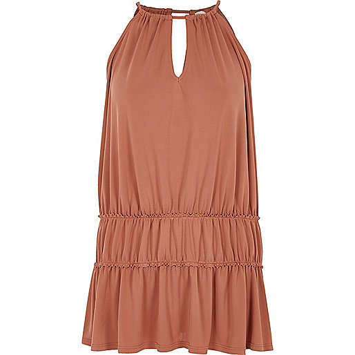 Dark orange ruched trapeze cami dress