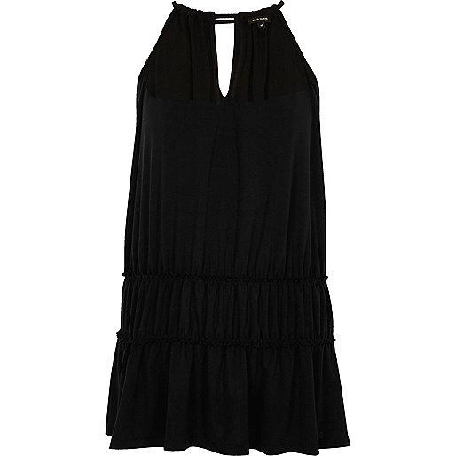 Black ruched trapeze cami dress