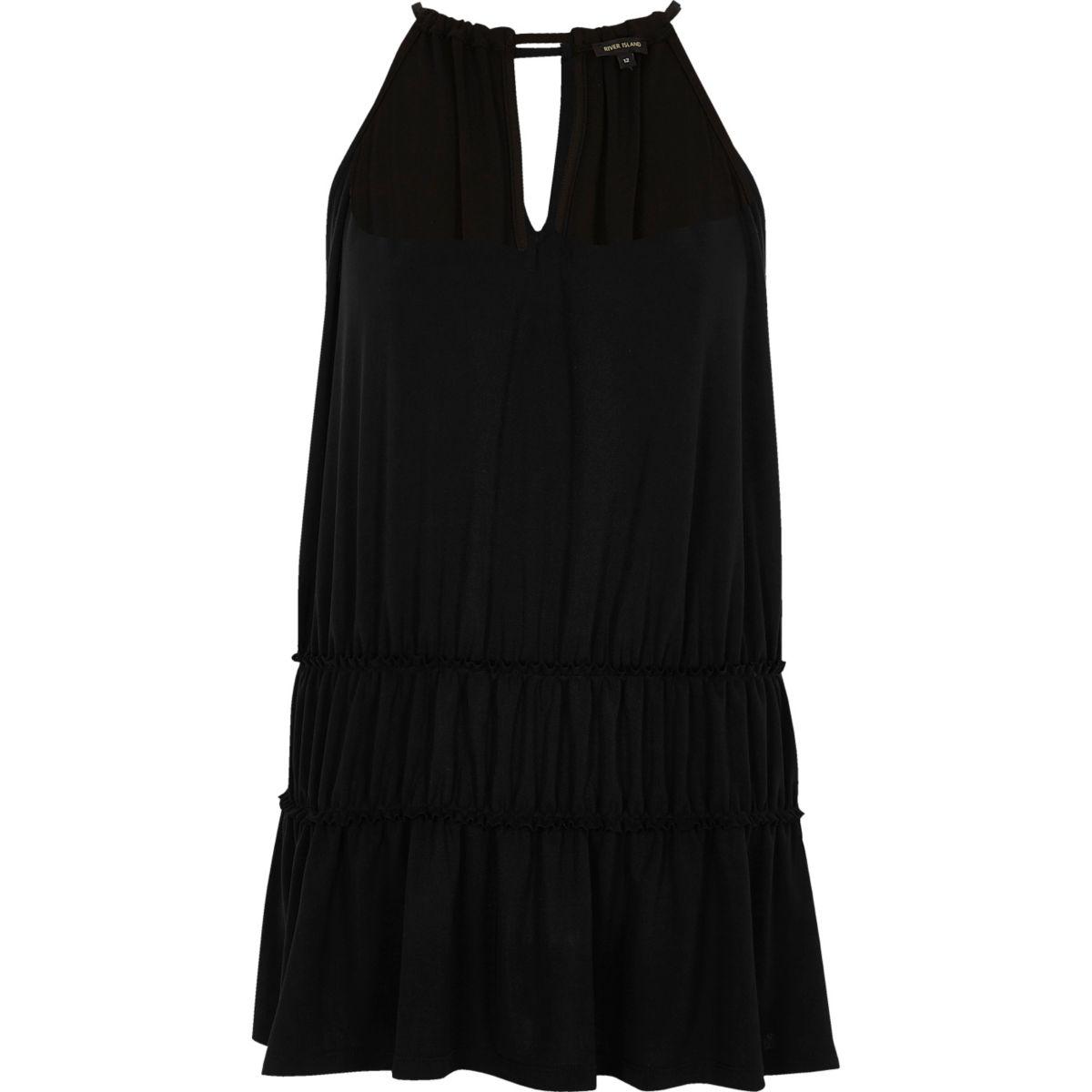 Zwarte cami-jurk met A-lijn en ruches