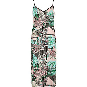 Green floral print tie waist slip dress