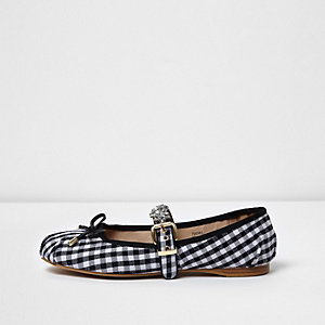 Navy gingham diamante trim ballet pumps
