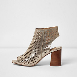 Gold metallic laser cut block heel sandals