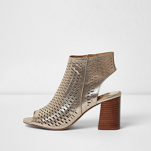 Gold metallic laser cut block heel sandals