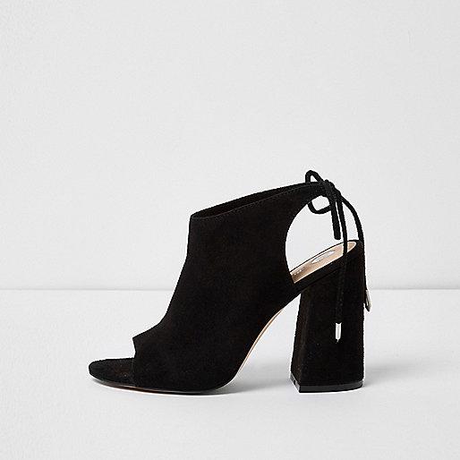 Black faux suede shoe boot