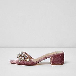 Pink velvet gem embellished mules