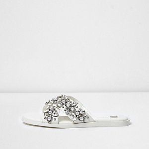 White diamante cross strap sliders