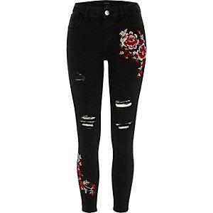 Black ripped floral super skinny Amelie jeans