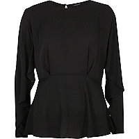 Black frill sleeve blouse
