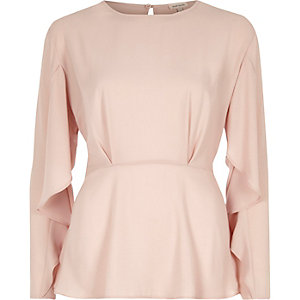 Pink frill sleeve blouse
