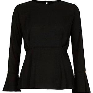 Black split sleeve blouse