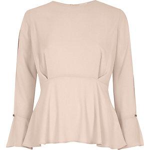 Light pink split sleeve blouse