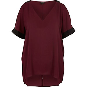 Dark cold shoulder V neck top