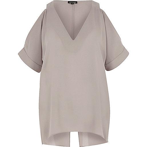 Grey cold shoulder split back top