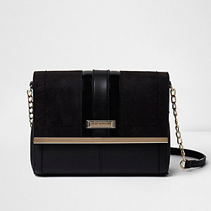 Black panel chain strap cross body bag