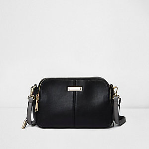Black faux leather mini cross body bag