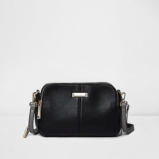 Mini sac à bandoulière en cuir synthétique noir