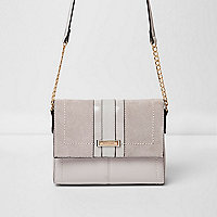 Grey panel cross body chain bag