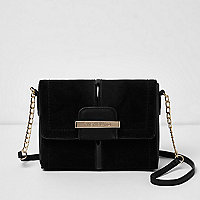 Black square foldover cross body chain bag