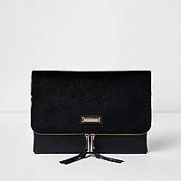 Black velvet zip around envelope clutch bag