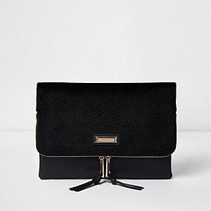 Pochette en velours noir zippée style enveloppe
