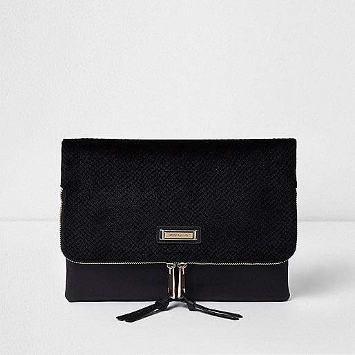 Black velvet zip around envelope clutch bag