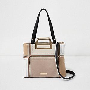 Beige metal handle patchwork tote bag