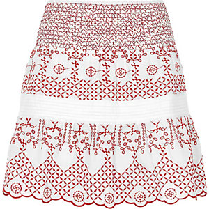 White and red broderie mini skirt
