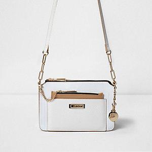 Mini sac à bandoulière blanc avec pochette amovible
