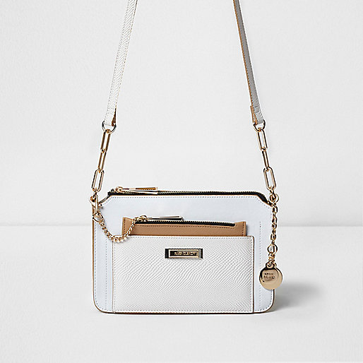 White pull out pouch mini cross body bag