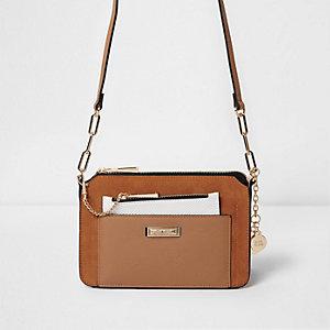Mini sac bandoulière fauve avec pochette amovible