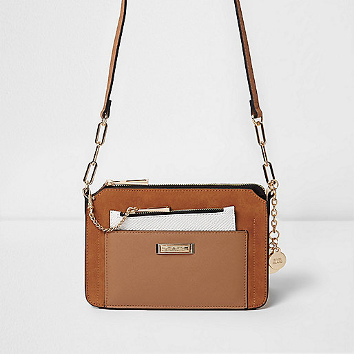 Tan pull out pouch mini cross body bag