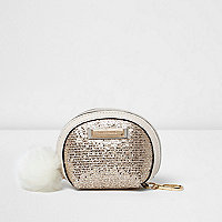 Gold glitter pom pom purse
